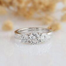 14k White Gold Gp For Women's 3-Stone Round Moissanite Wedding Engagement Ring