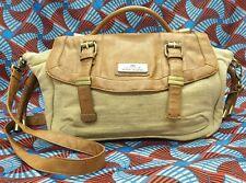 GENUINE Ladies Womens Bag Large Brown Cream Fabric Messenger Shoulder Handbag