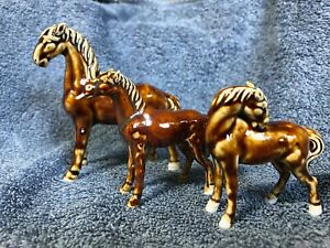 Group of 3  brown glazed horse figurines