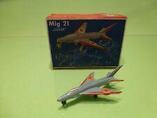 SIKU PLASTIC F33a FLUGZEUG MIG 21 UdSSR - BLUE RED 1:250 - GOOD IN BOX - PLASTIK