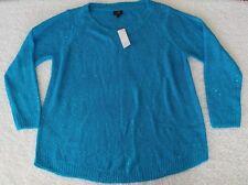 Rafaella Sequin Sweater Pullover - Size XL - Blue Knit