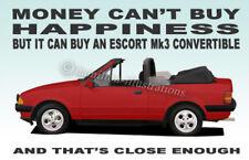 Ford Escort Mk3 XR3i Convertible illustration Novelty Fridge Magnet **RED**