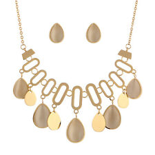 Quality Stainless Steel Gold Tone Cat Eye Stone Drops Pendent Necklace+Earrings