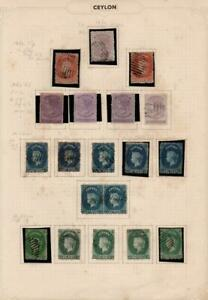 CEYLON: 1863-66 Victoria Examples - Ex-Old Time Collection - Album Page (38380)
