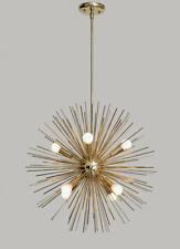 Mid-Century Modern Large Round Urchin Chandelier Polished Brass Starburst Light