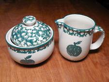 Tienshan Folk Craft APPLE Creamer & Sugar Bowl w Lid Green Sponge