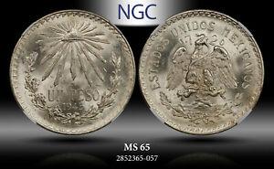 1945 Mo MEXICO SILVER 1 PESO NGC MS65