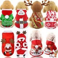 Christmas Santa Dog Pet Cat Clothes Warm Coat Hoodie Puppy Jumpsuit Vest Costume