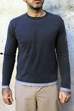CK Calvin Klein Long Sleeved Grey Casuals T Shirt Cotton Authentic S Small Italy