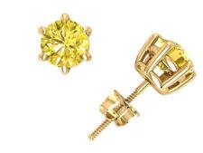 e1b47eeee2e1 1.00carat Redondo Diamante Amarillo Cesta Solitario Dormilonas 14k Oro  Pinza I1