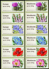 NCR SYMBOLIC FLOWERS 2  PAIR EUR to 100g WW to 100g SETS/6 GOOD PERFS POST & GO