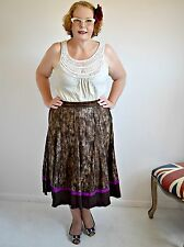 Country Road Mottled Flared Cotton Skirt - Size 16