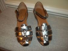 New Tod's Silver Strappy Wedge Heel Shoes US 5.5 (Eur 35.5)