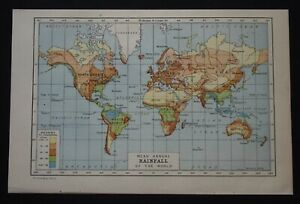 Vintage Map: Mean Annual Rainfall of the World, Harmsworth's Encyclopedia, 1922