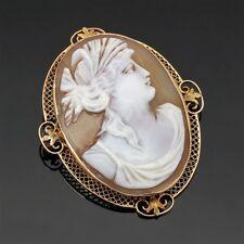 Antique 10k Gold Greco-Roman Woman Portrait Cameo Shell Brooch Pendant 7.46 grms