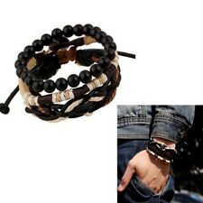 Men's Punk Style Wood Beads Knitted Leather Bangle Wax Rope Cuff Bracelets Hot