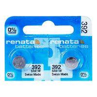 2 x Renata 392 Pila Batteria Orologio Mercury Free Silver Oxide SR41W 1.55V