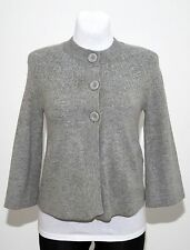 WOMENS H&M CARDIGAN FLARED ANGORA WOOL BLEND 3/4 SLEEVED GREY SIZE M MEDIUM EXC