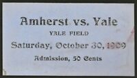 1909 YALE vs AMHERST Football Ticket at Yale
