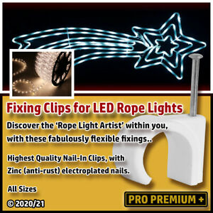 Fixing Clips for Flexible LED Rope Lights Nail Tacks Clamps Holders Sizes 6-12mm