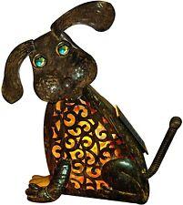 Dog Lantern Garden Statue Lamp Metal Rustic Figurine Vintage Decor Dog Lantern
