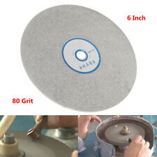 6 Inch Grit 80 Diamond Coated Flat Lap Wheel Lapidary Grinding Polishing Disc