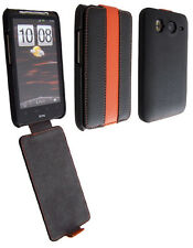 Etui Nzup StripColor noir orange pour HTC Desire HD