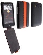 Etui Nzup StripColor noir orange pour HTC Desire HD