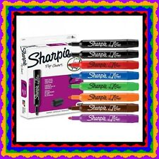 NIB Sharpie Flip Chart Markers Assorted Colors Box of 8 Rainbow Black Brown
