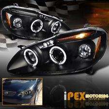 2003-2008 Toyota Corolla Dual Halo Rim Projector LED Headlights Black Headlamps