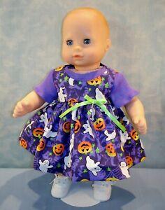 "15"" Doll Clothes Halloween Pumpkins & Ghosts Purple Jumper Outfit by Jane Ellen"