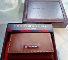 Tommy Hilfiger Trifold Brown Leather Wallet - Flag Logo - ID Slot - Gift Box