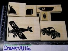 STAMPIN UP DD AIRPLANE 6 RUBBER STAMPS ANTIQUE CAR BOAT SPINNING TOP