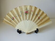 Antique Chinese Bone Hand-Painted on Silk Hand Fan Early 20th Century