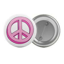 "Pink Peace Sign Symbol - Badge Button Pin 1.25"" 32mm"