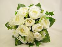 Artificial Flowers Cream Rose Ivy Pearl Heart Wedding Posy Bouquet Centrepiece