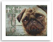 PUG DOG PRINT POSTER -Vintage Pug Pup ART-  signed Wendy Presseisen