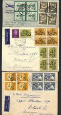 NETHERLANDS 1950's THREE AIR MAIL COVERS TO US NEAT FRANKINGS IN BLOCKS OF 4