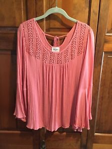 Haute Hippie Tribe 'Gemma' Woven Blouse Embroidery Coral XL A370015