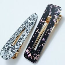 Set of 2 Oversized Black Pink Silver Glitter Resin on Gold Tone Metal Hair Grip