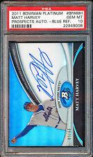 2011 BOWMAN PLATINUM BLUE REFRACTOR MATT HARVEY PSA 10 /99 LOW POP ON CARD METS