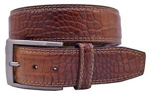 Greg Norman Crocodile Print Leather Golf Belt or Dress Belt - Tan - New w/Tags