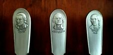 American Colonies spoon collections Franklin Mint 13 Pewter Spoons w/ wood rack