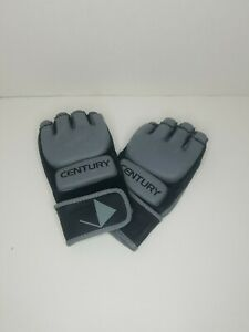 Century 2oz Gray and Black Kickboxing or MMA Training Gloves  Size S / M Adult