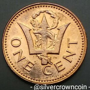 Barbados 1 Cent 1973. KM#10. One Penny coin. Trident. First year issue.