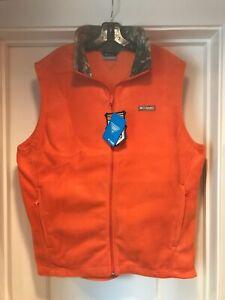 Mens Columbia PHG Fleece Vest XL Orange Realtree Camo Hunting HM1009 New