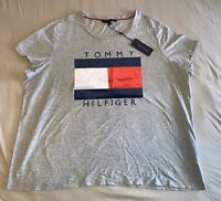 NWT Tommy Hilfiger Womens Red Knit Flag Logo T Shirt Top Heather Gray Size 2x