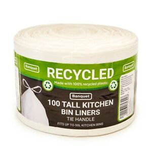 Banquet Recycled Tie Handle Tall Kitchen 100 Bin Liners 50 Litre Commercial Bags