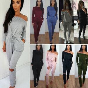 Women Long Sleeve Casual Jumpsuit Sports Loungewear Tracksuit Playsuit Trousers