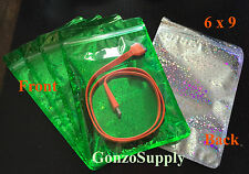 "1000PC 6x9"" Green Clear Hologram Foil Mylar ZipLock Bags-Merchandise Food Toys"